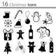 16 Christmas icons — Stock Vector