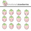 12 emotional strawberries — Stock Vector