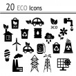 20 Icons - ecology and industry — Stock Vector