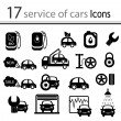 Car, mechanic, repair and maintenance icon set (vector) — Stock Vector