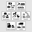 Set of icons on categories: health, business, real estate, transport, vacation. (vector) — Stock Vector