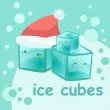 New Year's cubes of ice (vector) — Stock Vector