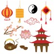Stock Vector: Set of objects - Chinese tradition (Vector)