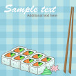Set of rolls, soy sauce, ginger and wasabi on checkered background — Vettoriale Stock #29218011