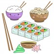 Set of dishes of Japanese cuisine — Stock Vector #29218045