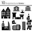 Set of buildings icons (vector) — Stock Vector