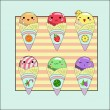 Set - ice cream in a horn  — Imagen vectorial