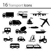 16 icone di trasporto — Vettoriale Stock