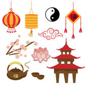 Set of objects - the Chinese tradition (Vector) — Stock Vector