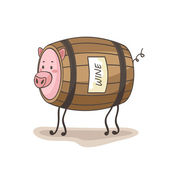 Keg of wine and pig — Stock Vector