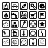 Symbols about acquisition, economy and expenses of money black-and-white (vector) — Stock Vector