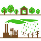 Green city and industry — Stock Vector