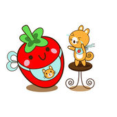 Squirrel and strawberry — Stock Vector