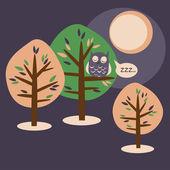 Natt i trä — Stockvektor