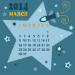 Space calendar 2014 - March ( vector) — Stock Vector