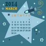 Space calendar 2014 - March ( vector) — Stock Vector #29789245