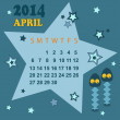 Space calendar 2014 - April ( vector) — Stock Vector