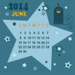 Space calendar 2014 - June ( vector) — Stock Vector