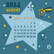 Stock Vector: Space calendar 2014 - August (vector)