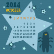 Space calendar 2014 - October ( vector) — Stock Vector