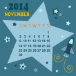 Space calendar 2014 - November ( vector) — Stock Vector