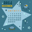 Space calendar 2014 - December ( vector) — Stock Vector