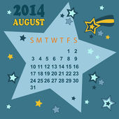 Space calendar 2014 - August (vector) — Stock Vector