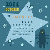 Space calendar 2014 - October ( vector) — Stock Vector