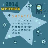 Space calendar 2014 - September ( vector) — Stock Vector