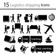 Logistics shipping icons set — Stock Vector