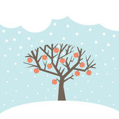 Winter card with the apple-tree — Stock Vector