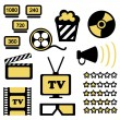 Set of icons of cinema hall  — Stock Vector