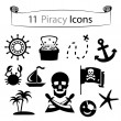 11 piracy icons — Stock Vector