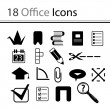 18 office icons — Stock Vector