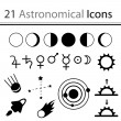 Stock Vector: 21 astronomical icons
