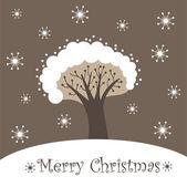 Tarjeta con un árbol - feliz navidad — Vector de stock