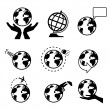 Set of icons with the globe — Stock Vector