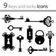 Set of keys and locks — Stock Vector