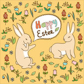 Card - Happy Easter with cute rabbits — Stock Vector