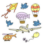 Set of icons - Air transport — Stock Vector