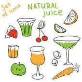 Set of natural juice — Stock Vector