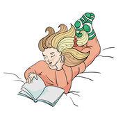 Muchacha leyendo el libro — Vector de stock