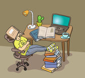 Student sleeping under the book — Vector de stock