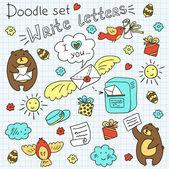 Doodle set-post — Stock Vector