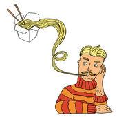Man eats noodles — Stock Vector