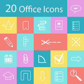 Set of flat modern office icons — Stock Vector