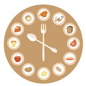 Food Icons Infographic Clock — Stock Vector