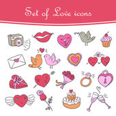 Set of doodle Valentine's icon in color — Stock Vector