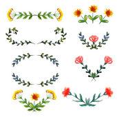 акварель цветочные элементы — Cтоковый вектор
