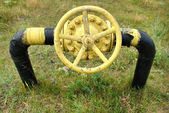 Old gas valve and pipeline — Stock Photo